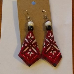 Butler's Forge Red Handkerchief Earrings NWT